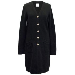 Chanel Long Cashmere Cardigan with Logo Buttons