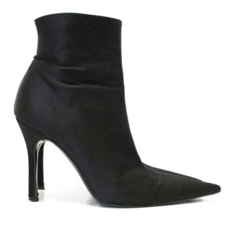 Gina Black Satin Pointed Toe Ankle Boots