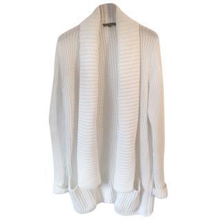 APOSTROPHE white cotton chunky hip length open cardigan