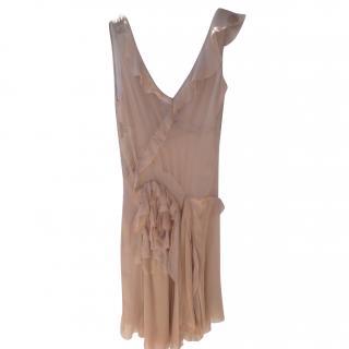 Alberta Ferretti pastel pink nude silk sleeveless dress