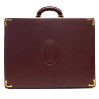 Cartier burgundy leather briefcase