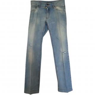 Dolce & Gabbana Light Blue Distressed Straight Leg Jeans