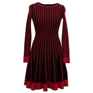 Alaia Black Skater Dress with Red Dot Design