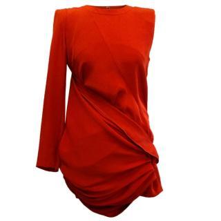 Barbara Bui Red Asymmetric Sleeve Dress