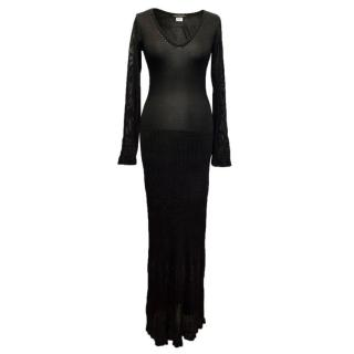 Collette Dinnigan Black Maxi Dress with Beading