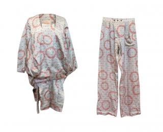 Vivienne Westwood Silver Silky Patterned Pyjama Top and Trousers Set