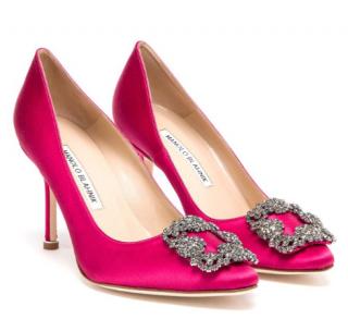 Manolo Blahniks Hangisi Pink Satin Heels