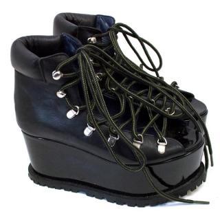 Sacai Black Lace Up Leather Flatform Sandals