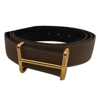 Hermes Brown Belt With Gold 'H'