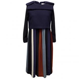 Chloe Wool Top Dress with Striped Skirt