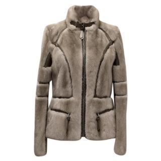 Barbara Bui Grey Mink Fur Jacket with Leather Panels