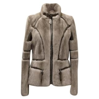 Barbara Bui Grey Mink Fur Jacket with Leather Panels