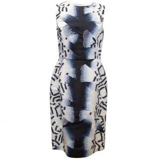 Oscar de la Renta Blue Silk Printed Dress