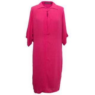 Balenciaga Silk Fushia Pink 2 Button Shirt Dress