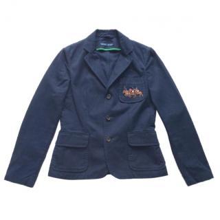 Ralph Lauren navy cotton blazer with embroidered pocket