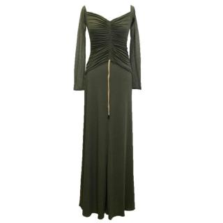 Amanda Wakeley Khaki Stretch Maxi Dress