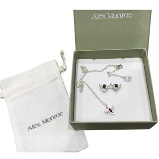 Alex Monroe Baroque Silver Garnet Earrings And Necklace