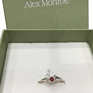 Alex Monroe British Designer Baroque Style Love Ring with Garnet Stone