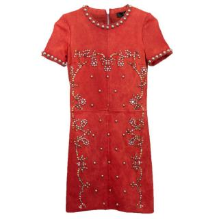 Isabel Marant Red Leather Bora Studded Dress