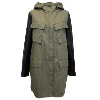 DKNY Khaki Green Parker Coat