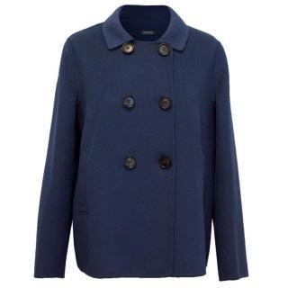 'S MaxMara Navy Double Breasted Wool Jacket
