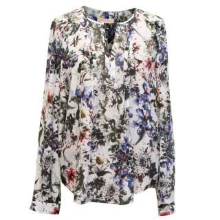Rebecca Taylor Silk White Blouse With Floral Print