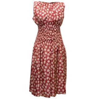 Nina Ricci Red and Pink Silk Floral Dress