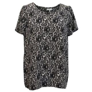 Joie Silk Black and White Short-sleeved Blouse