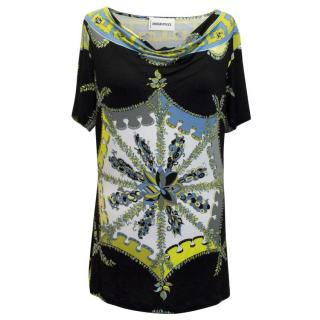 Emilio Pucci Black, Blue and Green Pattern Jersey Top