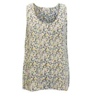 American Vintage Silk Blue and Yellow Floral Blouse