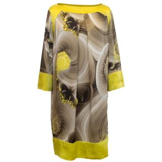 Versace Collection Yellow and Taupe Silk Print Tunic Dress