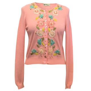 Blumarine Pink Cropped Cardigan with Floral Embroidery