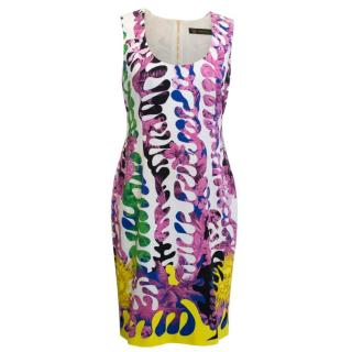 Versace Scoop Neck Zip Up Pattern Stretch Dress