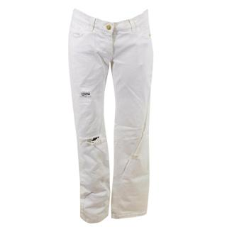 Dolce and Gabbana White Denim Destroyed Jeans