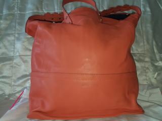 See By Chloe large orange coral leather tote bag