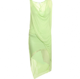 Helmut Lang Pale green silk sleeveless draped dress with cowl neckline