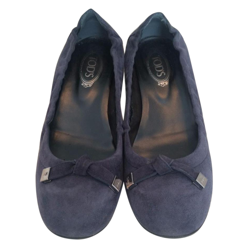 Tod's dark blue suede shoes