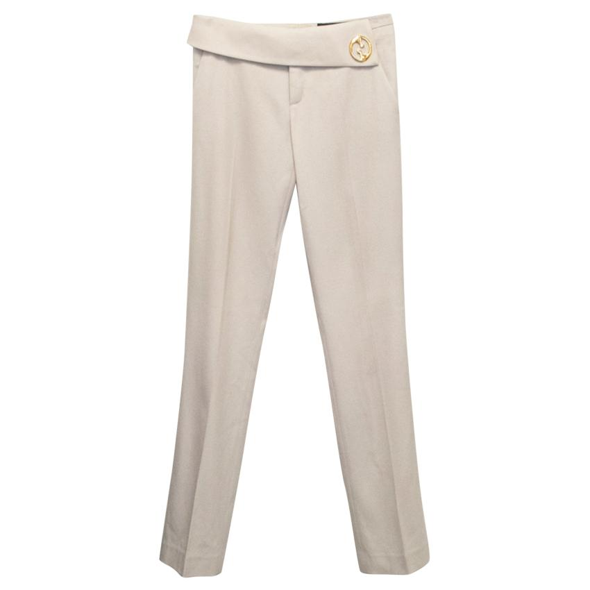 Gucci Beige Straight Leg Trouser with Gold Logo