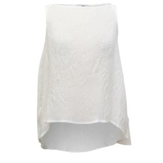 Erdem Joelle Cream Crinkled Sleeveless Top