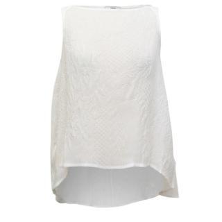 Erdem Joelle Cream Crinkled Sleeveless Top