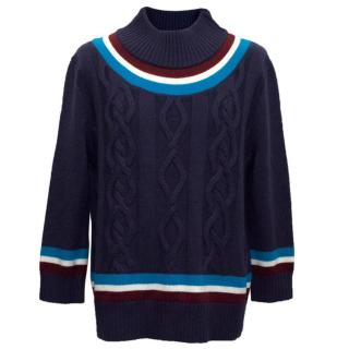 House of Holland Cable Knit Jumper with Stripes