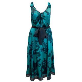 Marc Jacobs Blue Silk Floral Dress with Tie Waist