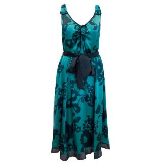Marc Jacobs Blue Silk Floral Dress with Tie Waist
