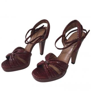 Alaia Red Python Sandals