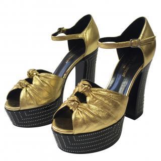 Saint Laurent Gold Studded Platform Sandals