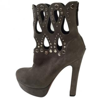 Alaia Grey Suede Studded Platform  Boots