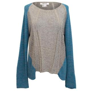 Helmet Lang Blue and Grey Raglan Knit Jumper
