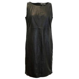 J Brand Leather Shift Dress with Ribbed Panels