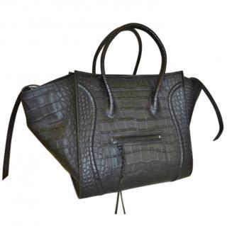 Celine black croc embossed leather Phantom Luggage