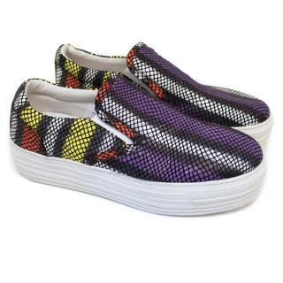 House of Holland Mock Snakeskin Flatform Skate Shoes